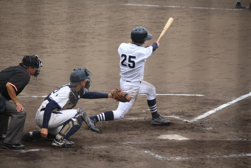 第3戦の九回、決勝点となる中犠飛を打った河田選手.JPG